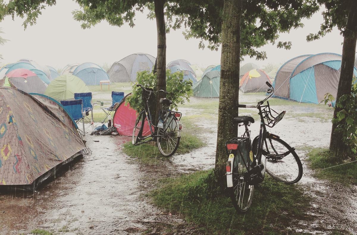 Raining at the campsite in Amsterdam