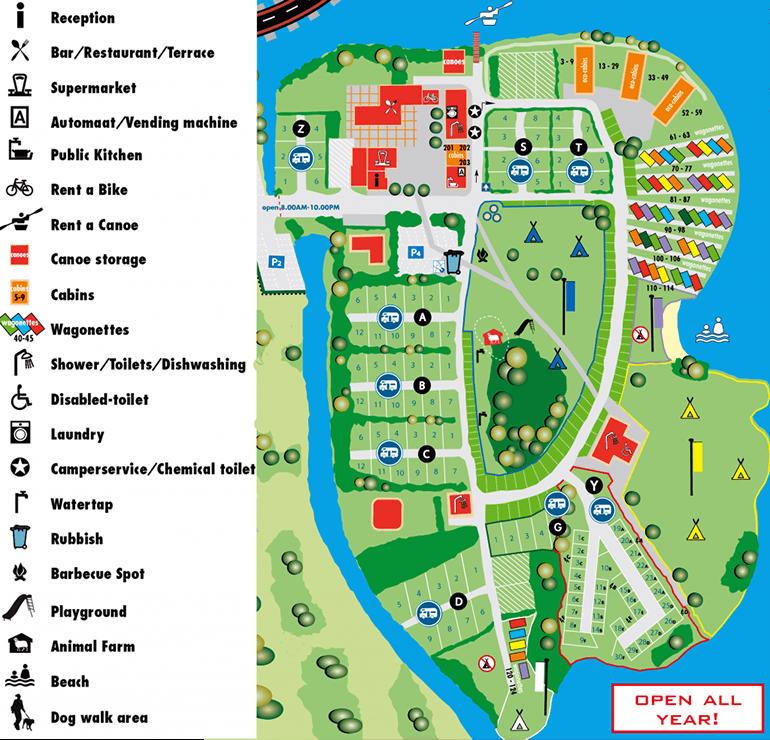 Map of Zeeburg Amsterdam campsite